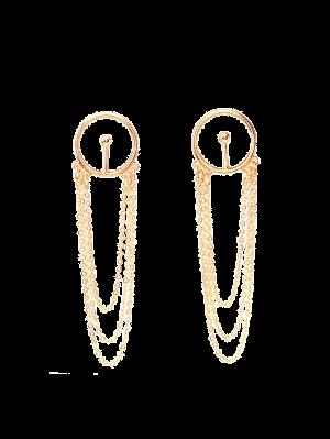 Círculo Con Flecos Pendientes De Gota De La Aleación De La Cadena - Dorado