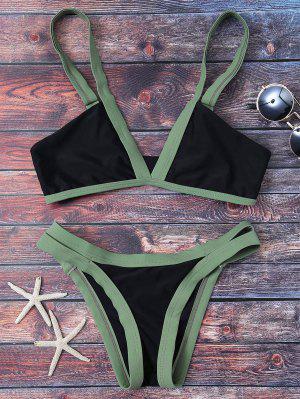 Traje De Bikini Escotado Con Color Bloque - Negro Xl