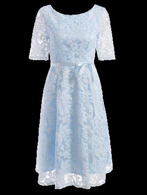 Vestido Longitud De La Rodilla Del Cordón Del Bordado - Azul Claro M