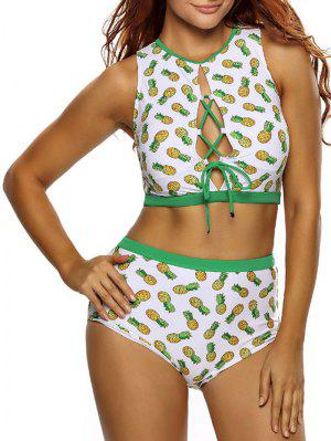Pineapple Lace Up High Waist Bikini Set - White M