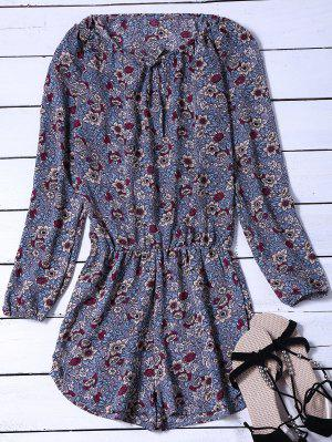 Long Sleeved Floral Print Playsuit - Blue Gray S