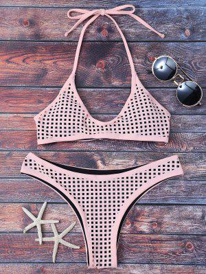 Cuadrado Cortado Con Láser Bralette Bikini - Luz Del Albaricoque  Xl