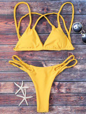 Braided Soft Pad Thong Bikini - Yellow S