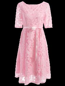 Embroidered Lace Knee Length Swing Dress - Pink S