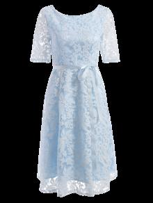 Embroidered Lace Knee Length Swing Dress - Light Blue M
