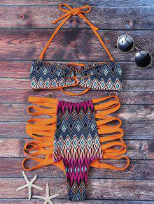 Ensemble Bikini à Bretelle Haute Taille Imprimé Tribal - Orange S