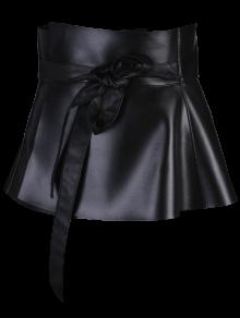 Bowknot Long Tail PU Leather Peplum Belt - Black