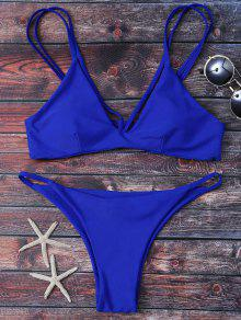 High Leg Strappy Bikini Set - Blue S
