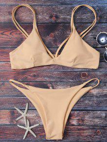 High Leg Strappy Bikini Set - Apricot M