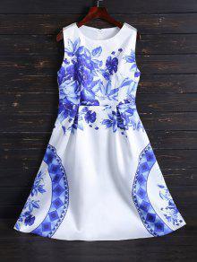 Vintage Impresión Vestido Longitud De La Rodilla - Blanco M