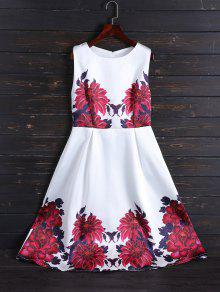 Sleeveless Flower Fit And Flare Dress - White Xl