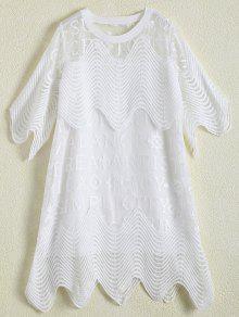 A Cielo Abierto Del Vestido Del Dobladillo Festoneado - Blanco M