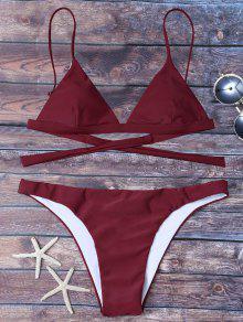 Bikini Noeud Au Dos Taille Haute - Rouge Vineux  Xl