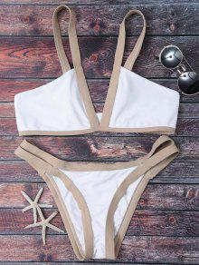 Cut Out Color Block Bikini Bathing Suit - White S