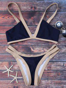 Cut Out Color Block Bikini Bathing Suit - Purplish Blue S