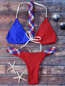 Ensemble Bikini Tricoté Couleur En Bloc - Rouge M