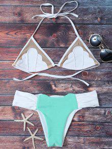 Bikini Fruncido De Color Bloque Con Panel De Malla - Azul Verde L