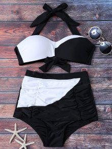 Color Bloque De Talle Alto Con Pliegues Set Bikini - Blanco Y Negro M