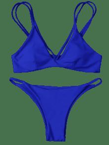 d6e1d25613 23% OFF  2019 High Leg Strappy Bikini Set In BLUE