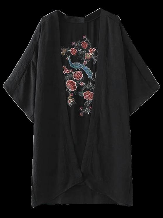 new Peacock Flowers Embroidery Kimono - BLACK S