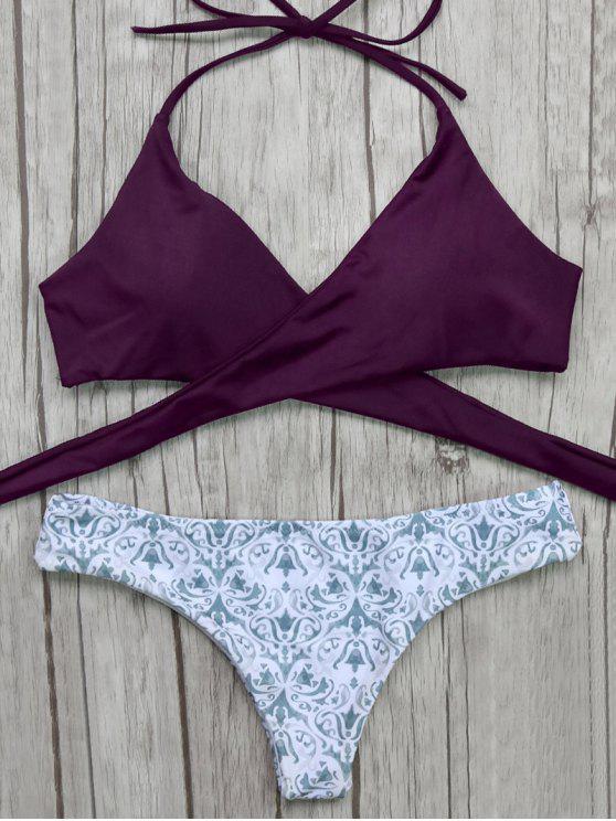 pantalon barroco y Bikini top delantero envuelto - Burdeos S