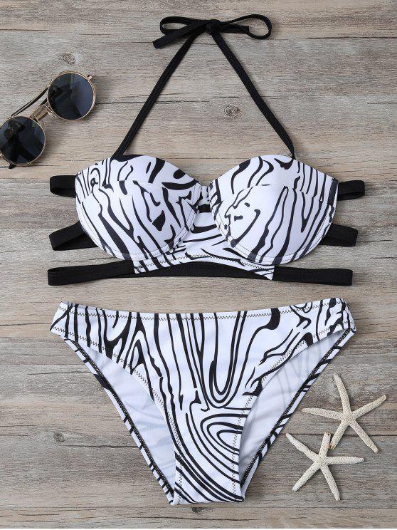 lady Zebra Print Underwire Bikini - WHITE AND BLACK M