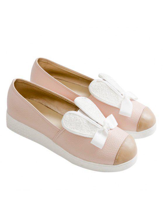 Sapato Fechado Com Orelhinhas Lantejoulas e Laço - Rosa 39