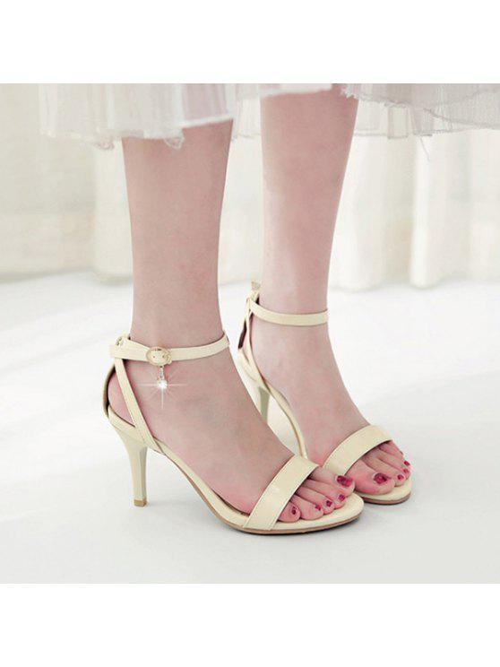 women's Rhinestone Ankle Strap Sandals - BEIGE 38