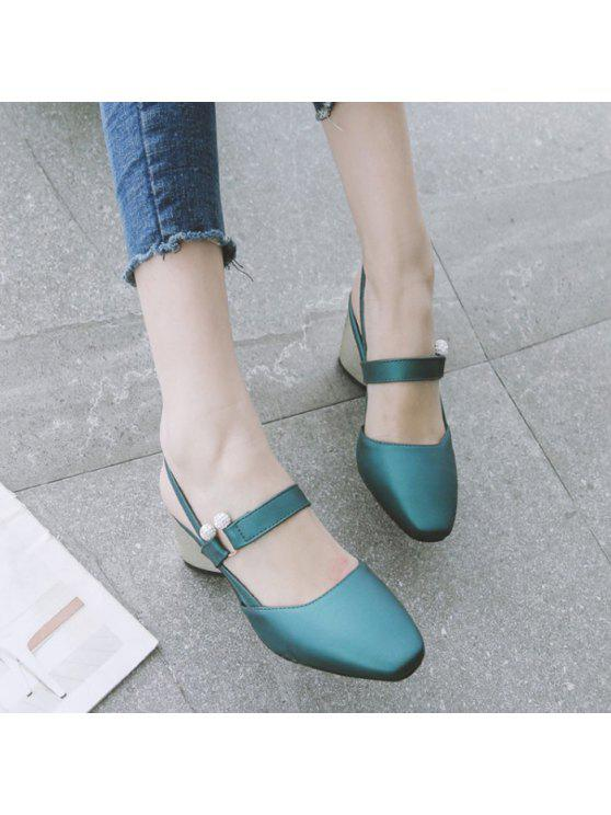 women Faux Leather Slingback Pumps - BLACKISH GREEN 37