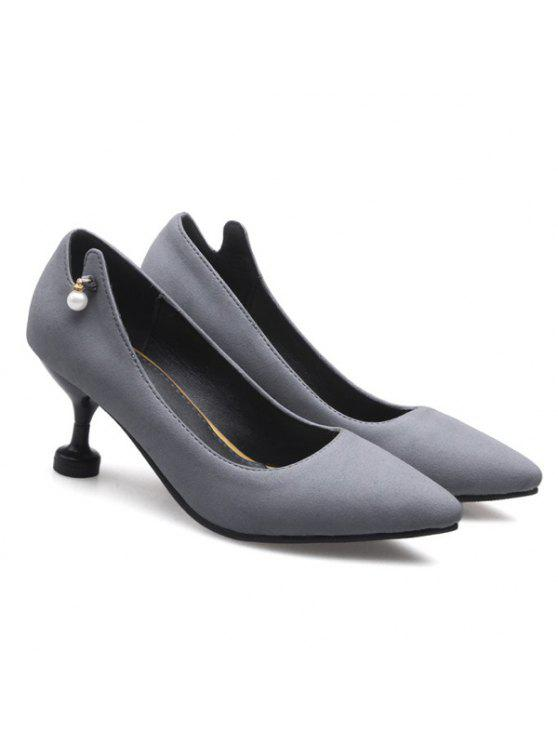 outfit Faux Pearl Suede Pumps - GRAY 39