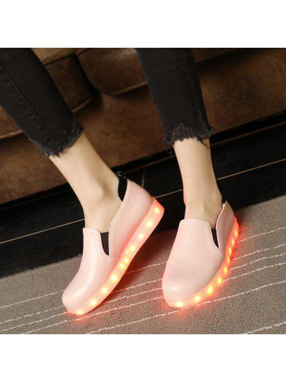lady Led Luminous Faux Leather Flat Shoes - PINK 37