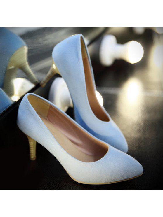 fashion Faux Suede Stiletto Heel Pumps - LIGHT BLUE 38