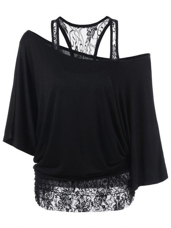 T-Shirt Encolure Cloutée à Empiècement en Dentelle - Noir 2XL