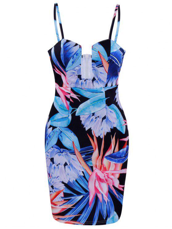 فستان طباعة الأزهار ضيق مصغر - أزرق L