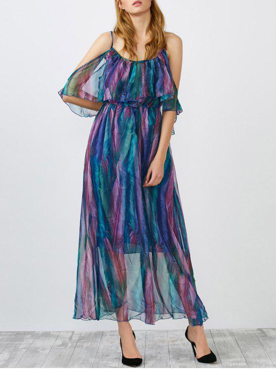 الكتف الباردة ورقة طباعة ميدي اللباس - Colormix L
