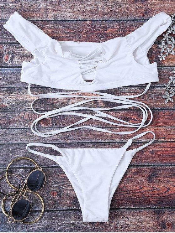 Strappy قبالة الكتف بيكيني - أبيض S