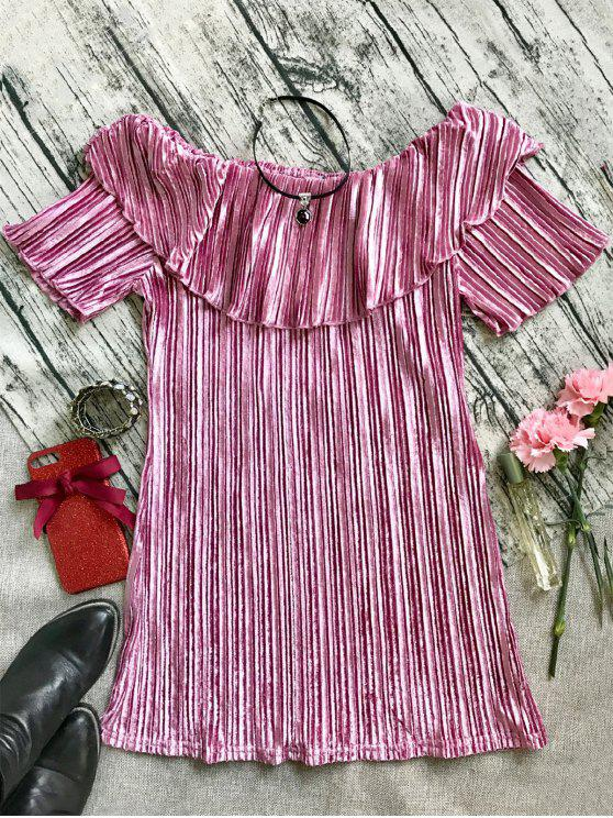 best Ruffle Pleated Velvet Off Shoulder Dress - PINK L