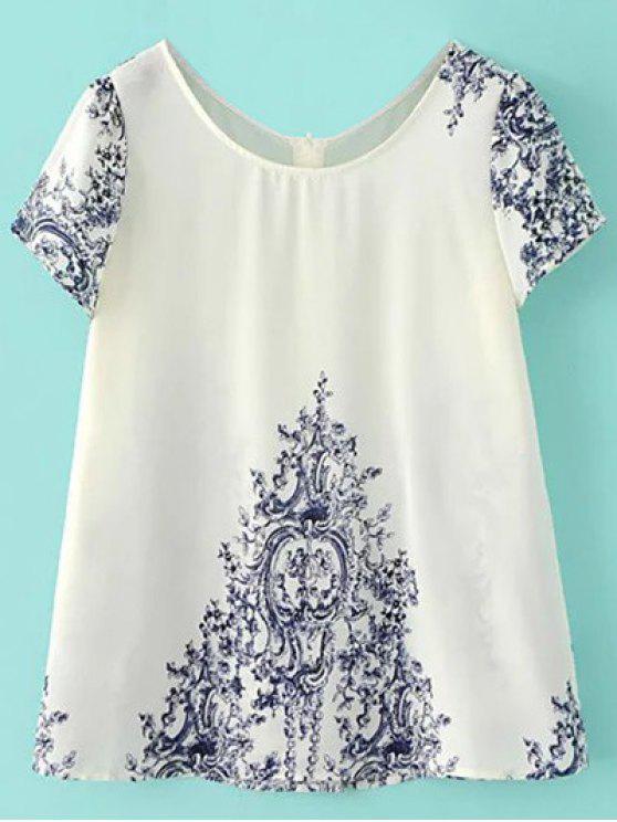 Top imprimé porcelaine bleu et blanche embelli bouton au dos - Blanc Cassé L