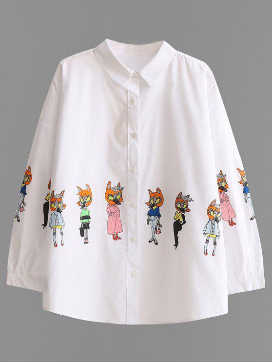 shop Button Up Cartoon Print Shirt - WHITE S