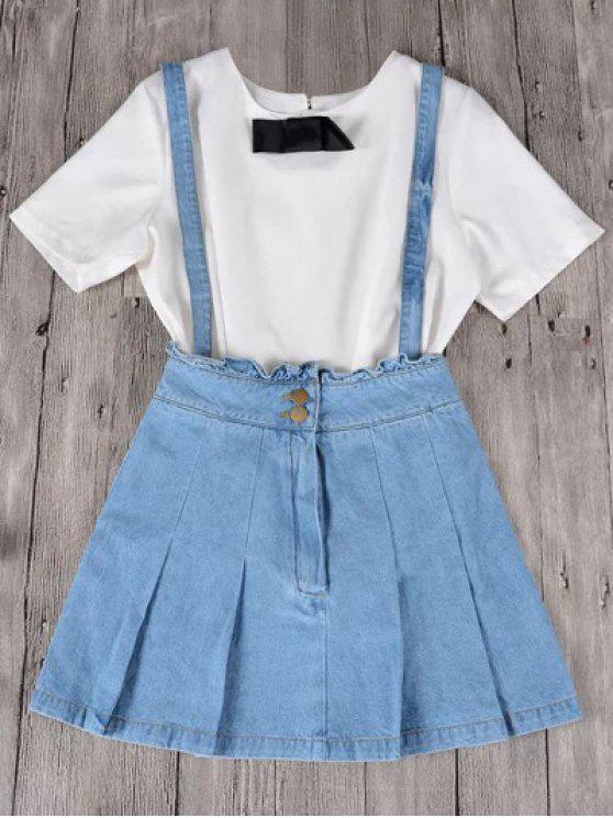 Jarretelle en denim à fanfreluches et chemise - Bleu clair S