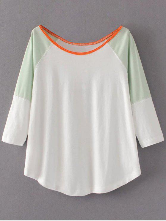 Bloque de color Mezcla del algodón de la camiseta - Blanco L