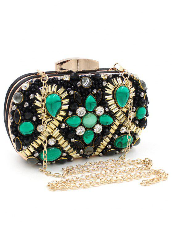Satin Faux Gem Beaded Evening Bag - Black And Green