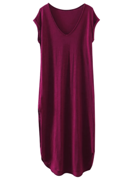 fashion Oversized Shift Maxi Dress - PURPLISH RED S