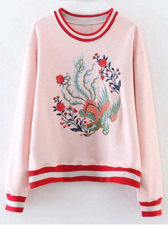 best Phoenix Embroidered Striped Sweatshirt - SHALLOW PINK M
