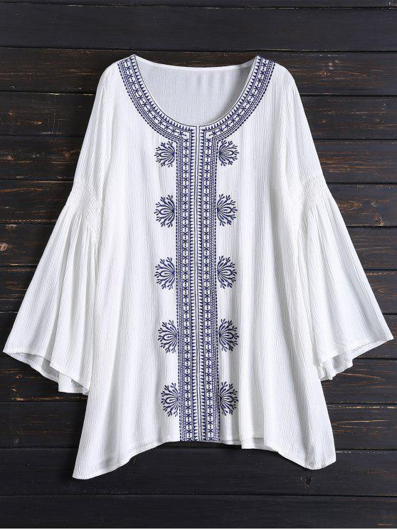 ladies Tunic Embroidered Cover Up - WHITE ONE SIZE