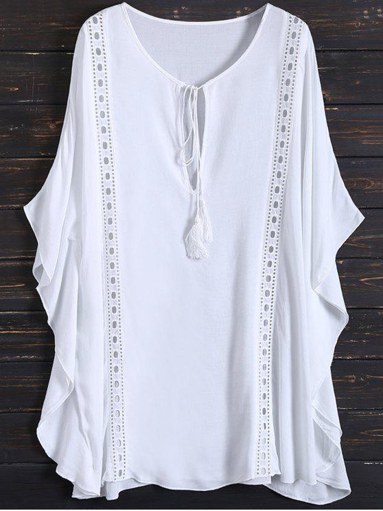 lady Fringed Cut Out Cover Up - WHITE ONE SIZE