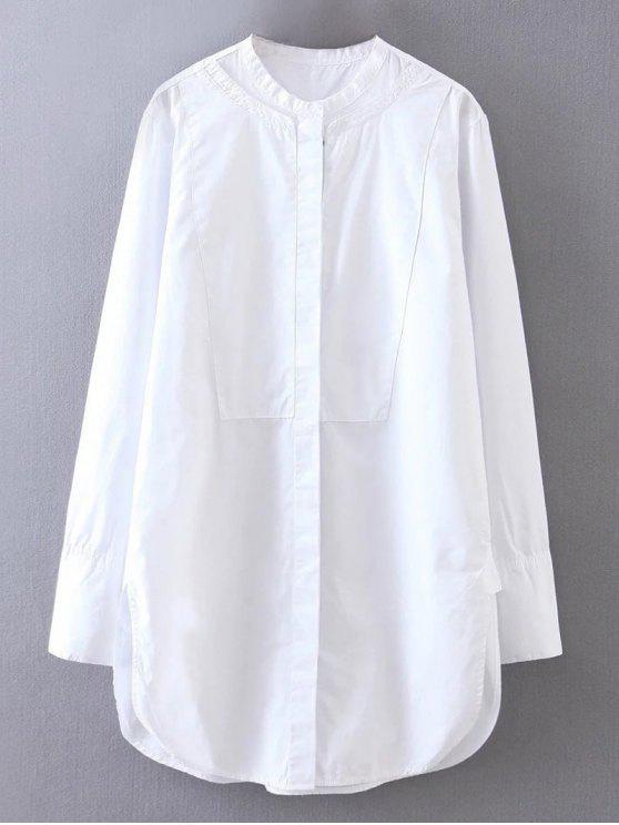 La raja del lado del mandarín cuello de la camisa del novio - Blanco L