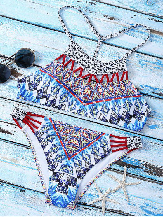 outfits T Back  High Neck Printed Bikini Set - MULTICOLOR M