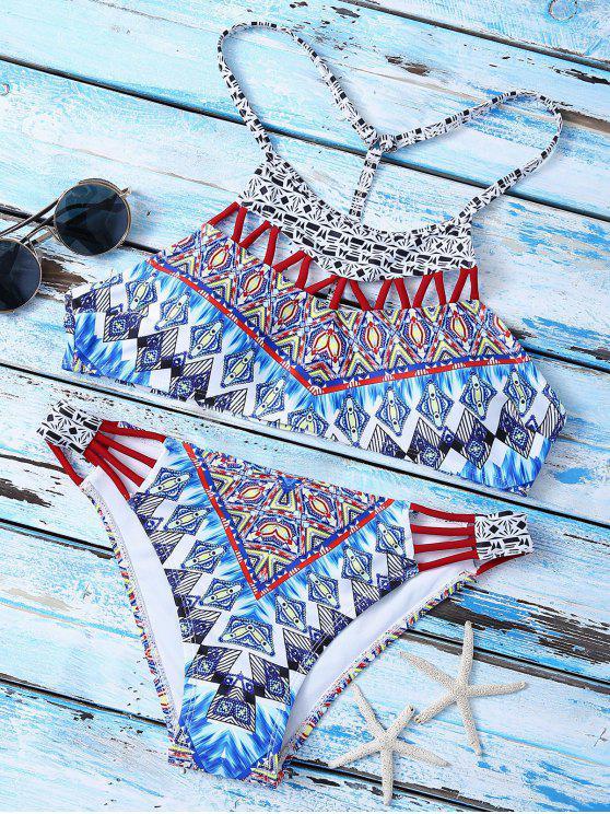 Traje de Bikini con Estampado con Cuello Alto con Cordón en T en Espalda - Multicolor S