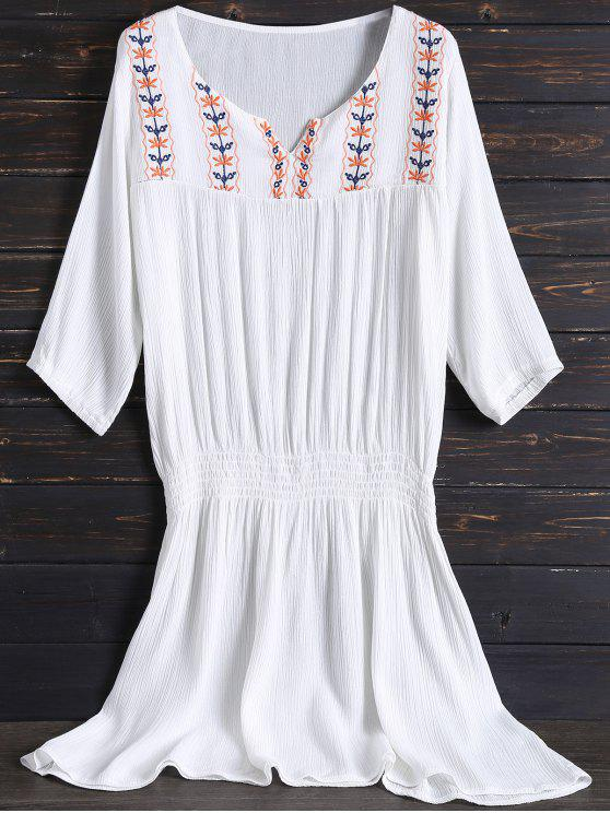 hot Embroidered Beach Dress - WHITE ONE SIZE